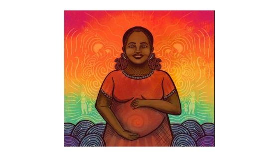 pregnant woman of cover illustration in warm colors