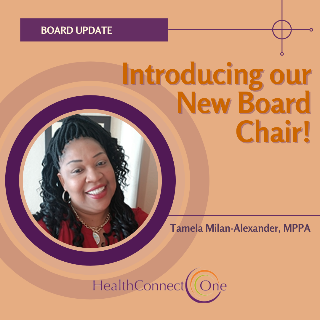 Picture of Tamela Milan-Alexander, HealthConenct One's new Board chair against a orange background with purple highlights around photo frame